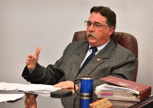Clay County Sheriff Kenny Lemons talks about his request for a resolution declaring Clay County as a Second Amendment Sanctuary County during the Commisioner's Court meeting Monday in Henrietta.