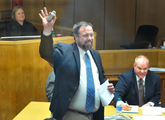 Wichita County Chief Felony Prosecutor Dobie Kosub questions potential jury members Monday during the jury selection portion of the Robert Lee Fleeks' trial. Fleeks, 69, of Wichita Falls is  trial on two firearms charges is in the punishment phase.