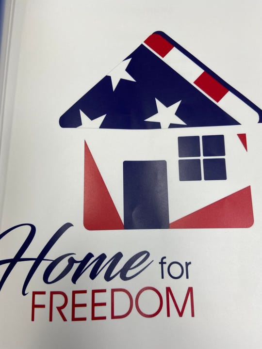 The Home for Freedom logo. The organization has a mission to restore respect and appreciation for veterans. Their first major project is cleaning up and improving the Wichita County Cemetery which holds at least 86 veterans' graves.