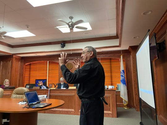Joel Jimenez, DAV president speaks to the Wichita County Commissioners Monday about Home for Freedom's plans to make improvements to the Wichita County Cemetery.