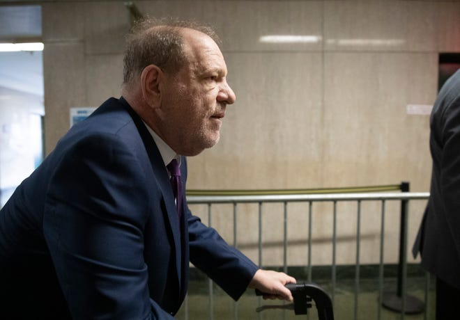 Harvey Weinstein arrives for his sex-crimes trial on Jan. 27, 2020 in New York.