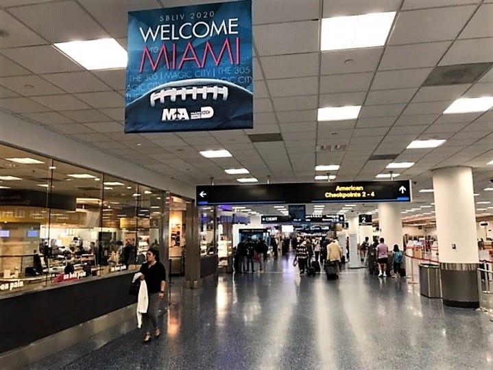 Miami International Airport welcomes Super Bowl LIV travelers.