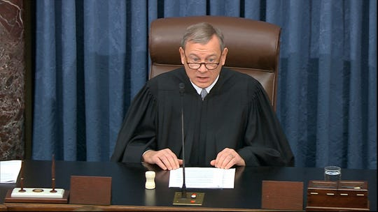 Chief Justice of the United States John Roberts speaks Monday during the Senate impeachment trial against President Donald Trump.