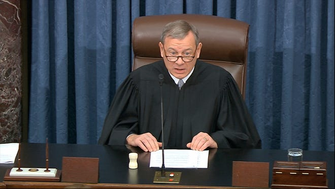 Chief Justice of the United States John Roberts speaks Jan. 27 during the Senate impeachment trial of President Donald Trump.
