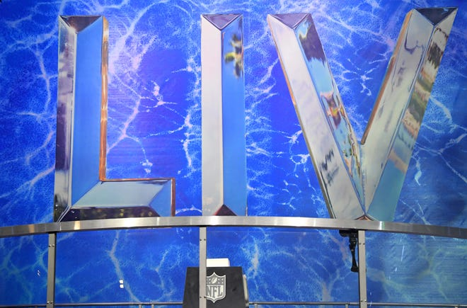 A detail shot of the Super Bowl LIV logo at the Super Bowl Experience.