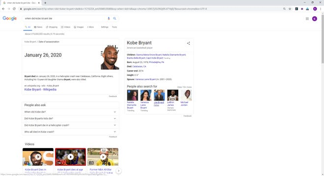 "A Google search for ""When did Kobe Bryant"" die lists a ""date of assassination"" rather than ""date of death"" early Monday."