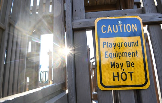 The Kid Venture playground, one of the Anderson County Parks with a heat warning.