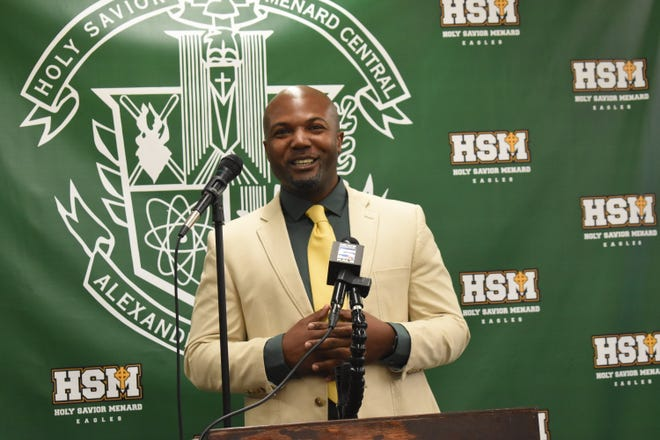 Justin Charles smiles after becoming the new football head coach for Holy Savior Menard High School. Charles was the football coach at Louisiana College from 2017-2019.