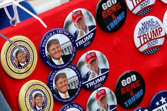 Buttons for sale along the boardwalk south of the Wildwood (NJ) Convention Center where President Donald Trump is scheduled to speak later Tuesday, January 28, 2020.