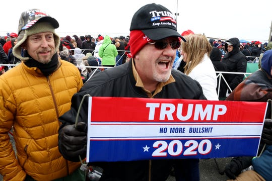 Peter Heller, Lafayette, NJ, displays his Trump sign outside the Wildwood (NJ) Convention Center where the President is scheduled to speak later Tuesday, January 28, 2020.