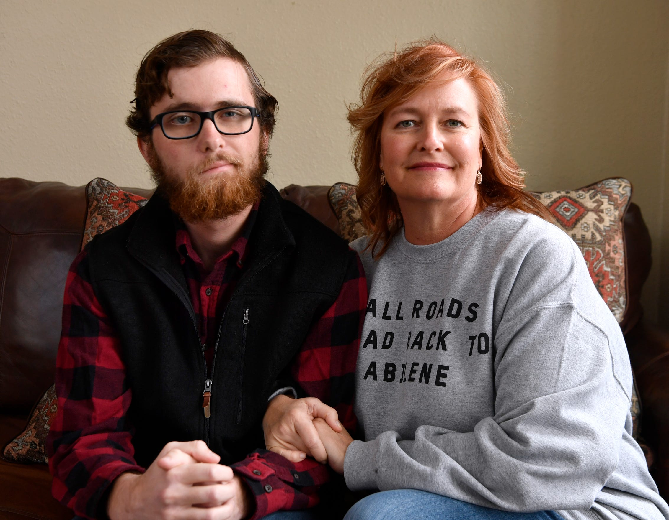 Jack Marcelain, left, survived a benign brain tumor diagnosed in 2005, when Marcelain was 6 years old. He's now a social work student at Abilene Christian University, studying to one day help families who are enduring what he and his suffered through. His mother, Tammy Marcelain, right, supports him through his journey.