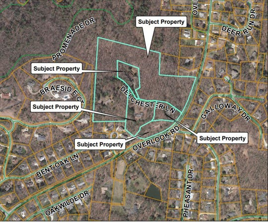 A developer plans to build 80 town home apartments on a 25 acre site off Overlook Road.