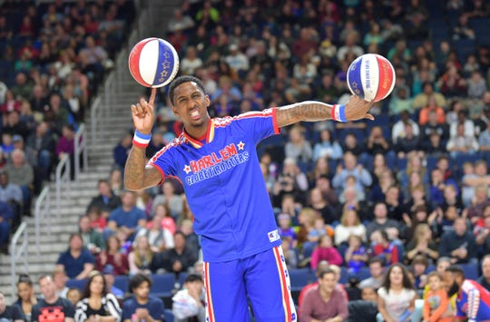 Bull Bullard competes against the Washington Generals in the Harlem Globetrotters' 2019 Fan Powered World Tour.
