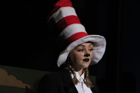 """The Cat in the Hat (Alanna Bolon) leads the way through """"Seussical, the Musical."""""""