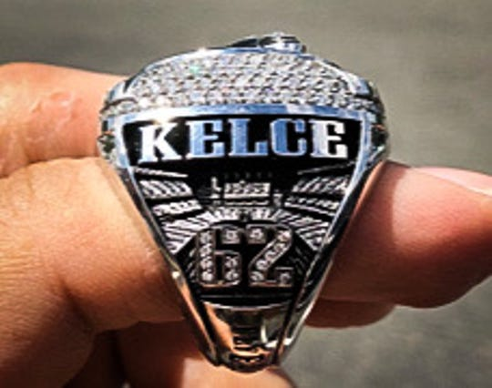 Jason Kelce's Super Bowl ring, won by the Philadelphia Eagles over the New England Patriots. Now, Jaosn's brother, Travis, has a chance to match it when his Kansas City Chiefs face the San Francisco 49ers in Super Bowl LIV.