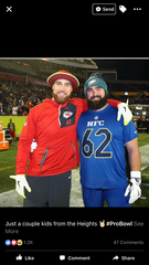 Kansas City Chiefs tight end Travis Kelce, left, and brother Jason Kelce, a center with the Philadelphia Eagles, pose at the 2017 Pro Bowl.