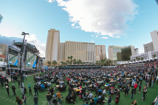 Thousands of fans gathered for a previous Super Bowl watch party at the Downtown Las Vegas Events Center, a property owned by Nevada mogul Derek Stevens. This year's Super Bowl watch party at the center is expected to draw more than 10,000 viewers.