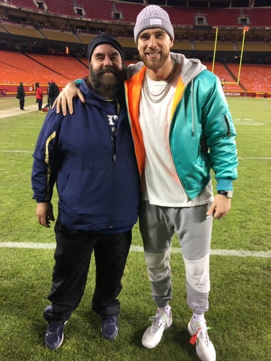 Tom Kelce, left, a cousin to Kansas City Chiefs tight end Travis Kelce, is the varsity baseball coach at Holy Trinity Episcopal Academy and will have a super interest in Super Bowl LIV.