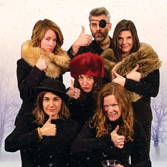 "The Stealing from Work sketch-comedy troupe (left to right back row, Amy Halpin Riley, Jory Raphael and Geeda Searfoorce; center, Marianne DiMascio; and front row, Alex Hudson and Chris Caswell) performs its latest show, ""From Russia with Likes,"" Feb. 5-9 in Burlington."