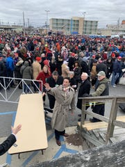 "Sen. Mike Testa, who ousted an incumbent Democrat in November for a state Senate seat, waves to a person who called his name from the Wildwood Boardwalk. He has ""expedited entry"" to Trump's campaign Rally Tuesday, Jan.28, 2020. Testa spoke at the rally."