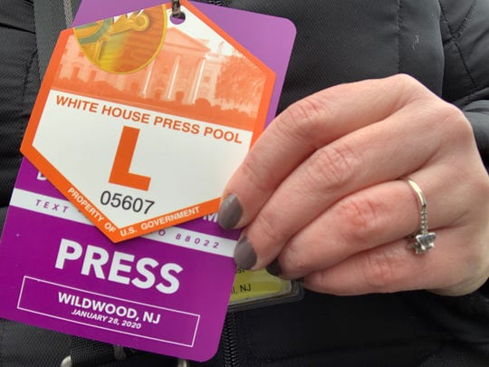 Press  credentials for the 'Keep America Great' rally in Wildwood.