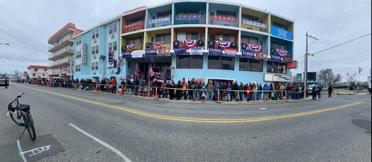 A panoramic shot offers perspective on the line outside the Wildwoods Convention Center, where Trump's 'Keep America Great' rally was to begin at 7 p.m. Tuesday. By 11 a.m., thousands already had lined up.
