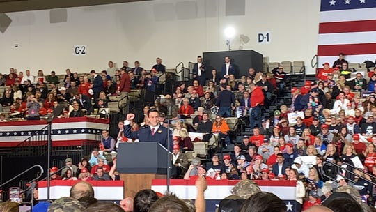 State Sen. Mike Testa, who took over U.S. Rep. Jeff Van Drew's seat in New Jersey's 1st Legislative District, speaks at the Trump rally.