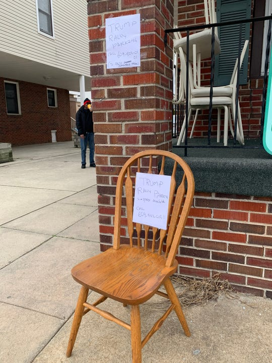 Who says there's no place to park in Wildwood for Trump's rally? A sign on a chair advertises parking, but there's no word on the price.