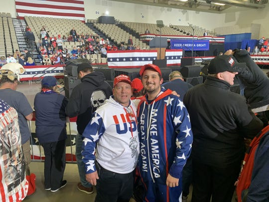 William Dzugan (left) and Josh Smail - both of Mayslanding - slept overnight in line in WIldwood for President Trump's 2020 campaign rally. It paid off with an excellent view of their Presidential candidate.