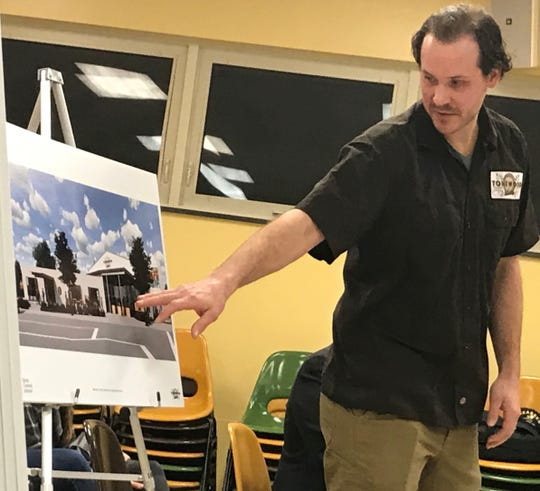 Eli Facchinei, co-founder of Tonewood Brewing, discusses a planned facility at Monday night's meeting of the Barrington planning board.