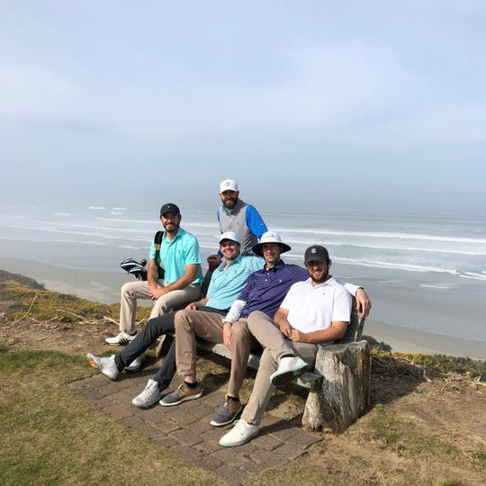 """""""No Laying Up"""" is an online golf company that features (pictured from left to right) Chris Solomon, Todd Schuster, Neil Schuster, Phil Landes and D.J. Piehowski. Solomon's from Dublin, Ohio, and Landes is from Cincinnati, a graduate of Mariemont High School. Solomon, Landes and Todd Schuster met at Miami University in Oxford, Ohio."""