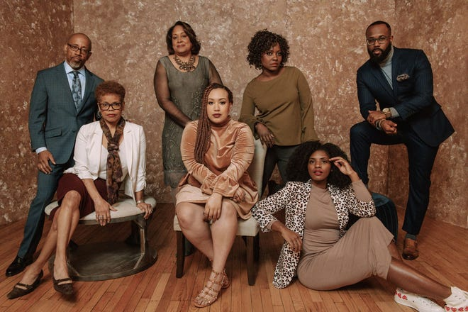 The Cincinnati USA Regional Chamber is honoring seven people in its 'We Are Making Black History' campaign for Black History Month. They are (front, from left) Verna Williams, Morgan A. Owens, Ray Ball (back, from left) David Singleton, Nerissa Morris, Dora Anim and Eugene Partridge III.
