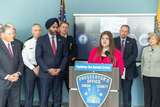 Prevention Links Chief Executive Officer Morgan Thompson speaks at the press conference on Tuesday.