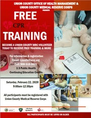 The Union County Board of Chosen Freeholders invites residents to become Union County Medical Reserve Corps volunteers and receive free CPR training on Saturday, Feb.22, from 9a.m. to 12:30 p.m.