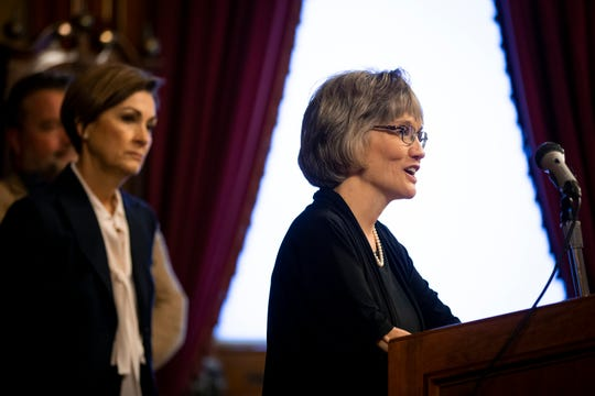 Dana Oxley speaks after being appointed to the Iowa Supreme Court by Iowa Governor Kim Reynolds following the death of Chief Justice Mark Cady on Tuesday, Jan. 28, 2020, in Des Moines.