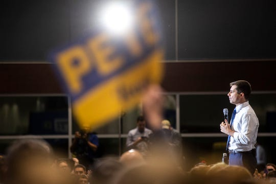 Democratic presidential candidate Pete Buttigieg, former mayor of South Bend, Ind., speaks during a town hall campaign event, Monday, Jan. 27, 2020, at Liberty High School in North Liberty, Iowa.