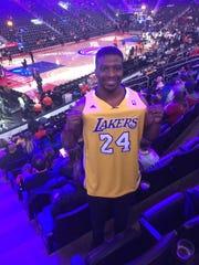 Aaron Patton, of Cincinnati, wears his Kobe Bryant jersey Monday.