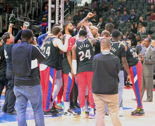 The Pistons honored Los Angeles Lakers great Kobe Bryant by wearing his number before the start of their game against the Cleveland Cavaliers Monday, January 27, 2020, at Little Caesars Arena.