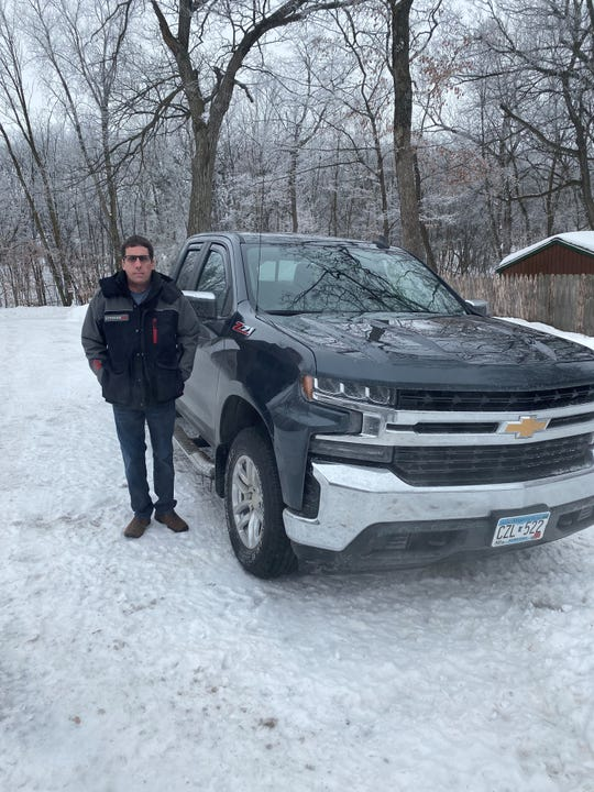 Brian Duscher with his 2019 Chevrolet Silverado Z71 pickup that he said experienced failing brakes after he got a recall done.