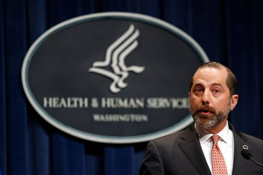Health and Human Services Secretary Alex Azar speaks at a news conference about the federal government's response to a virus outbreak originating in China, Tuesday in Washington.