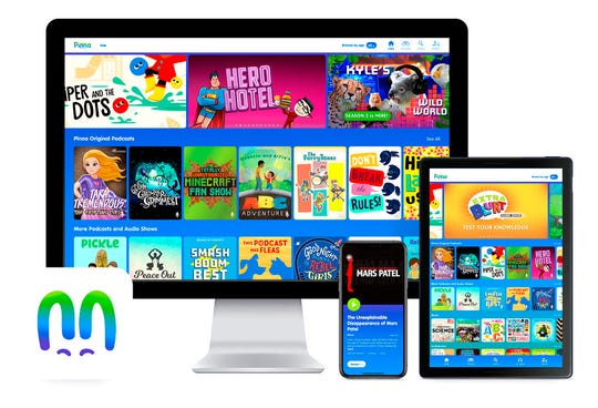 This product image released by Pinna shows the Pinna app displayed on a computer, mobile phone and tablet. The on-demand streaming service offers podcast, audiobook and music compilations for kids.