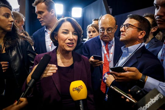 Democratic presidential candidate Sen. Amy Klobuchar, D-Minn., speaks to media in the spin room following a Democratic presidential primary debate hosted by CNN/New York Times at Otterbein University, Tuesday, Oct. 15, 2019, in Westerville, Ohio.