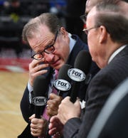 Detroit Pistons vice chairman Arn Tellem breaks into tears during a pregame interview about Kobe Bryant whom he represented when Tellem was a player agent.