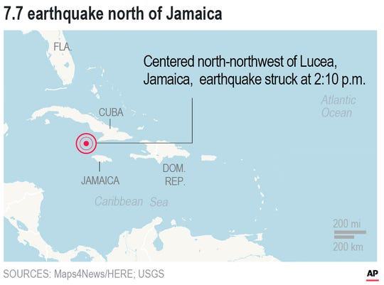 Map locates earthquake in the Caribbean on January 28, 2020.