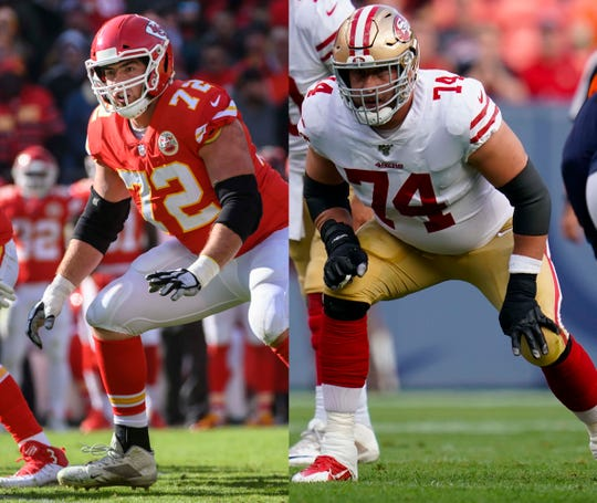 Kansas City Chiefs left tackle Eric Fisher (left) and San Francisco 49ers left tackle Joe Staley have seven Pro Bowl appearances between them.
