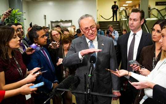 Senate Minority Leader Chuck Schumer, D-N.Y., speaks to reporters at the Capitol in Washington, Monday, Jan. 27, 2020.