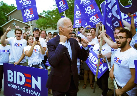 Former Vice President and Democratic presidential candidate Joe Biden meets with supporters before speaking at the Iowa Democratic Wing Ding at the Surf Ballroom, Friday, Aug. 9, 2019, in Clear Lake, Iowa.