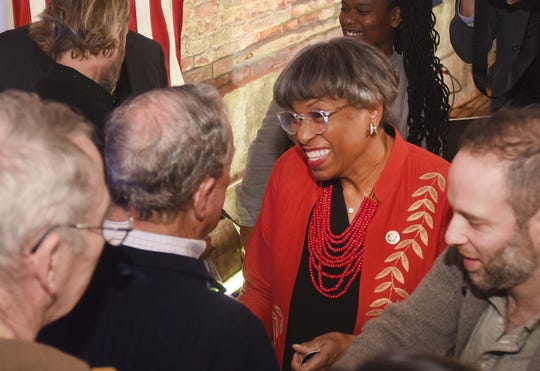 Congresswoman Brenda Lawrence greets Democratic Presidential candidate Mike Bloomberg during a campaign event in Detroit in December.