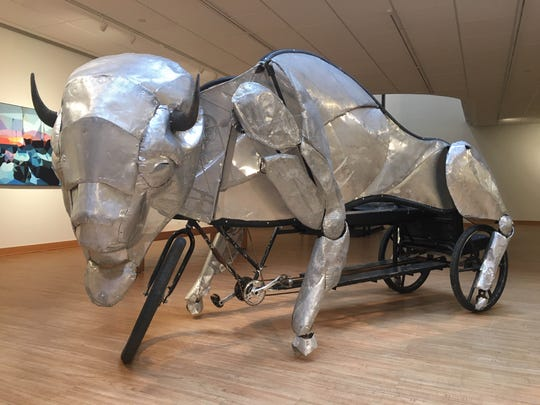 "Giddy-up! Juan Martinez's ""Bison Pedicab"" dominates the floor at the Janice Charach Gallery."