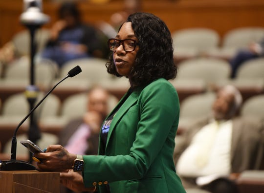 Shannon Williams of High Quality Provisioning Center in Pinconning addresses the council about opportunities in opening a recreational marijuana facility in the city.